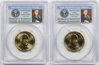LOT 2 2014-P-D FRANKLIN ROOSEVELT $1 PCGS MINT STATE 66 POSITION A PRESIDENTIAL 2 COIN