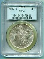 1888-O MORGAN SILVER DOLLAR S$1 PCGS MINT STATE 64 MINT STATE 64 OLD GREEN HOLDER OGH BLAST WHITE