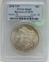 1878 7TF MORGAN SILVER DOLLAR PCGS MINT STATE 65 REVERSE OF 1879 TONING BJ597