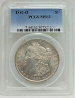 1886-O MORGAN SILVER DOLLAR PCGS MINT STATE 62 CERTIFIED - NEW ORLEANS MINT BJ609