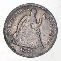 5C  1/2 DIME HALF  1871 S SEATED LIBERTY HALF DIME EARLY AME