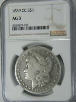 1889 CC MORGAN$1 NGC AG3 PERFECT AND PROBLEM FREE FOR GRADE-- KEY COIN