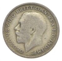 SILVER ROUGHLY SIZE OF DIME 1920 GREAT BRITAIN 3 PENCE WORLD