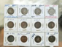 FLYING EAGLE CENT AND MORE PENNY LOT OF 12 COINS 1857 1868