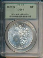 1880 S SILVER MORGAN DOLLAR PCGS MINT STATE 64