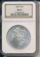 1881 S SILVER MORGAN DOLLAR  NGC MINT STATE 67   CLEAN AND BRIGHT
