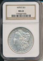 1878  S SILVER MORGAN DOLLAR  NGC MINT STATE 63