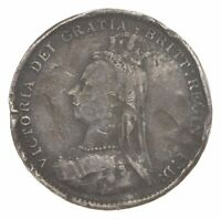 SILVER ROUGHLY SIZE OF DIME 1888 GREAT BRITAIN 3 PENCE WORLD