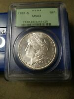 PCGS MINT STATE 63 1881-S MORGAN SILVER DOLLAR IN VINTAGE GREEN HOLDER