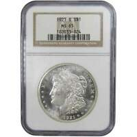 1921 S $1 MORGAN SILVER DOLLAR COIN MINT STATE 65 NGC