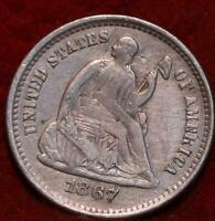 1867 S SAN FRANCISCO MINT SILVER SEATED LIBERTY HALF DIME