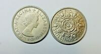 GREAT BRITAIN : FLORIN X 2. 1955 & 1956.   KM 906