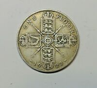 GREAT BRITAIN FLORIN 1922.  0.500  SILVER. KM 817A