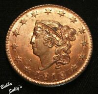 1818 CORONET HEAD LARGE CENT <>N 10 R1 CRACK INNER POINT ALL