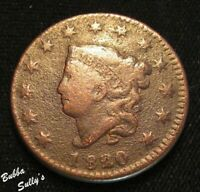 1820 CORONET HEAD LARGE CENT <> N 3 R2 1820/19 UNDERFIGURE R