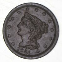 1851 BRAIDED HAIR HALF CENT   CHARLES COIN COLLECTION  306