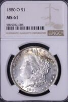 1880-O TONED MORGAN DOLLAR NGC MINT STATE 61 HANGNAIL POPULAR VAM NOT LABELED 4 UCMH