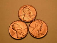 1952 P-D-S  CH/GEM BU UNCIRCULATED CHERRY RED LINCOLN CENT  SET OF 3  GROUP35