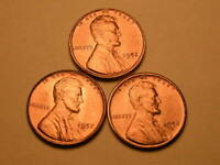 1952 P-D-S  CH/GEM BU UNCIRCULATED CHERRY RED LINCOLN CENT  SET OF 3  GROUP37