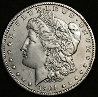 1901-S MORGAN SILVER DOLLAR.  CHEST FEATHERS.  AU-UNC.  151344