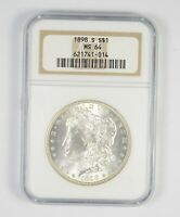 MINT STATE 64 1898-S MORGAN SILVER DOLLAR - GRADED NGC 8618