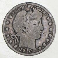 BETTER 1912 S   US BARBER 90  SILVER HALF DOLLAR COIN COLLEC