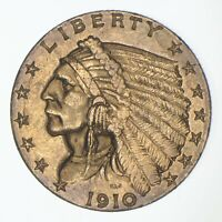 $2.50 UNITED STATES 90  US GOLD COIN   1910 INDIAN   NO RESE