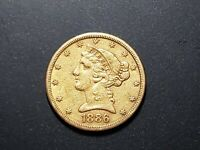 1886 S $5 GOLD LIBERTY HEAD UNCERTIFIED