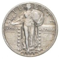 BETTER 1928 S   US STANDING LIBERTY 90  SILVER QUARTER COIN