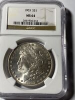1903  MORGAN DOLLAR TOUGH  DATE NGC MINT STATE 64  GORGEOUS    CERTIFIED  COIN