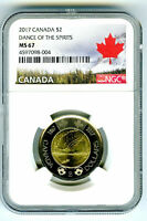 2017 CANADA $2 TOONIE NGC MS67 DANCE OF SPIRITS 150TH ANNIV