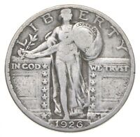 BETTER 1926 S   US STANDING LIBERTY 90  SILVER QUARTER COIN
