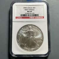 2003 SILVER EAGLE NGC MINT STATE 69, FIRST STRIKES 57694