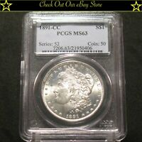 1891-CC U.S. MORGAN SILVER DOLLAR $1 PCGS MINT STATE 63 90SILVER SPITTING EAGLESEE AD