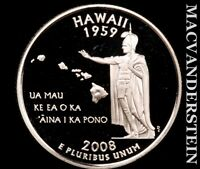 2008 S SILVER HAWAII STATE QUARTER GEM PROOF LUSTER T7876