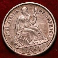 1891 S SAN FRANCISCO MINT SEATED LIBERTY DIME