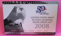 2008 S U.S. MINT STATE SILVER PROOF 5 COINS QUARTERS SET IN