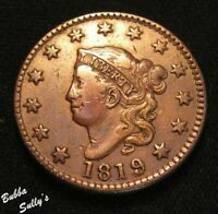 1819 CORONET HEAD LARGE CENT <> N 2 R1 LARGE DATE <> FINE