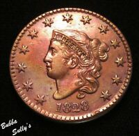 1828 CORONET HEAD LARGE CENT <>N 6 R1  1828/88 CRACK STAR 8 13<>XF TO AU DETAILS