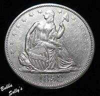 1858 SEATED LIBERTY HALF DOLLAR <> RPD <> LY FINE