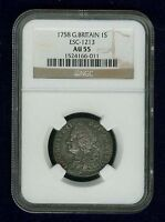GREAT BRITAIN / ENGLAND GEORGE II 1758 SHILLING SILVER COIN NGC CERTIFIED AU 55