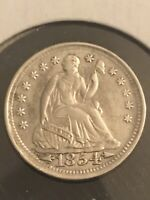 1854 W/ARROWS SEATED HALF DIME XF/AU COIN UP FOR AUCTION  TH