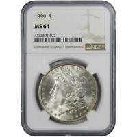 1899 $1 MORGAN SILVER DOLLAR COIN MINT STATE 64 NGC