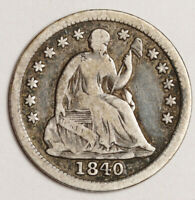 1840 LIBERTY SEATED HALF DIME.  WITH DRAPERY.  VG-F.  151983