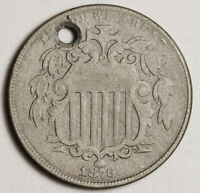 1876 SHIELD NICKEL.  EXTRA FINE  DETAIL.  HOLED.  151495