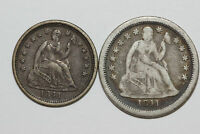 1841-O 1/2 SEATED LIBERTY SILVER DIME & 1841-O SEATED LIBERTY DIME EXTRA FINE /F NUM5280