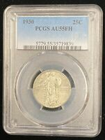 1930 PCGS AU 55 FH 25C STANDING LIBERTY QUARTER FULL HEAD