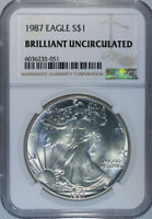 1987 AMERICAN SILVER EAGLE DOLLAR / NGC BRILLIANT UNCIRCULATED  ACTUAL COIN