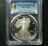 1986-S $1 PROOF SILVER EAGLE PCGS PF69 DCAM GOLD SHIELD LABEL