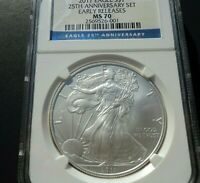2011 SILVER EAGLE FROM 25TH ANNIVERSARY SET NGC MS70 EARLY RELEASES